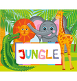 lion giraffe elephant and crocodile vector image vector image