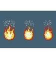 Flame with smoke animation frames in pixel art vector image