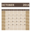 Calendar October 2016 week starts from Sunday vector image