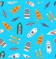 cartoon color boats top view vector image