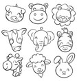 Collection hand draw animal head doodles vector image