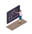 female teacher explains material near blackboard vector image