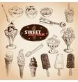 Hand drawn set with ice Cream vector image