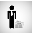 Man silhouette business and newspaper design icon vector image