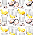 Seamless background with oysters and lemons vector image