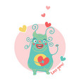 sweet card for valentines day with blue monster vector image