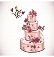 Vintage floral card with Wedding Cake vector image
