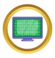 Binary code on screen icon vector image