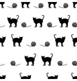 black cats and ball of wool seamless pattern eps10 vector image