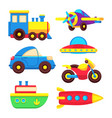 colorful baby toy transport set vector image