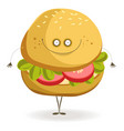delicious vegan burger with cheerful face and thin vector image