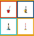 flat icon mop set of bucket mop sweep and other vector image