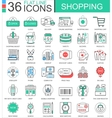 Shopping e-commerce color flat line outline vector image