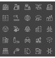 Pollution outline white icons vector image