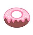 Sweet donut flat cartoon style Glazed with vector image