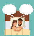 sleeping couple in bed embracing dreaming vector image