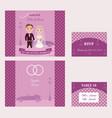 decorative wedding invitation cards set vector image
