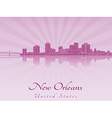 New Orleans skyline in purple radiant orchid vector image