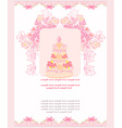 wedding cake card design vector image vector image