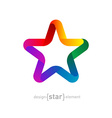 rainbow Star from ribbon on white background vector image