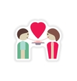 stylish paper sticker on white background lovers vector image