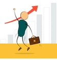 businessman jump with growing chart vector image