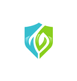 abstract shield eco protection logo vector image