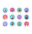 arabic profile avatar icon set arab men and women vector image