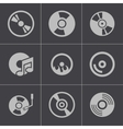 black CD disk icons set vector image