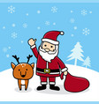 cute cartoon santa with reindeer merry christmas vector image