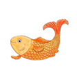 gold fish on white background doodle vector image