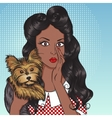 Sexy african girl with little dog Yorkshire vector image