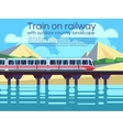 Train on railway with outdoor country landscape vector image