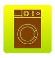 washing machine sign  brown icon at green vector image
