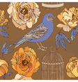 Bird and blooming roses vector image vector image