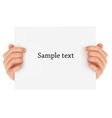 two hands holding sign vector image