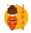 Asian girl with sushi Japan vector image