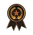 award ribbon gold black medal with star laurel vector image