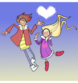 cartoon boy and girl dancing in the sky with cloud vector image