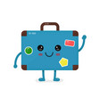 cute happy smiling vintage old suitcase vector image