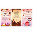 Desserts menu template for bakery or cafe vector image