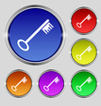 Key icon sign Round symbol on bright colourful vector image