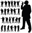man with a cigarette in various poses black vector image