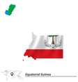 Map of Equatorial Guinea with flag vector image