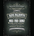 retro party invitation on chalkboard vector image