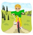 Serious boy riding his bike outdoor in countryside vector image