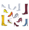 Shoes icons with patterns vector image