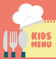 kids menu cuttlery kitchen design vector image