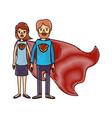 color crayon stripe cartoon full body couple vector image