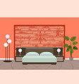 bright bedroom interior in red colors with vector image vector image